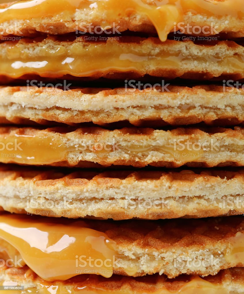 Stack of Stroopwafel or Caramel Filled Traditional Dutch Waffle, Closed up for Background or Texture stock photo