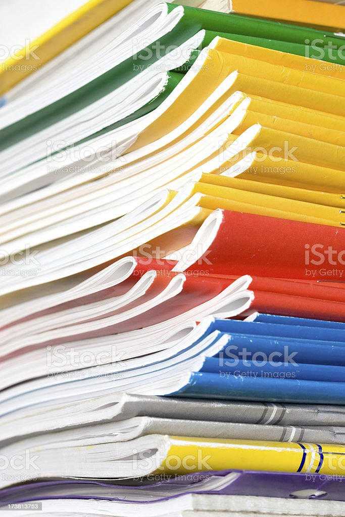 Stack of student work books royalty-free stock photo