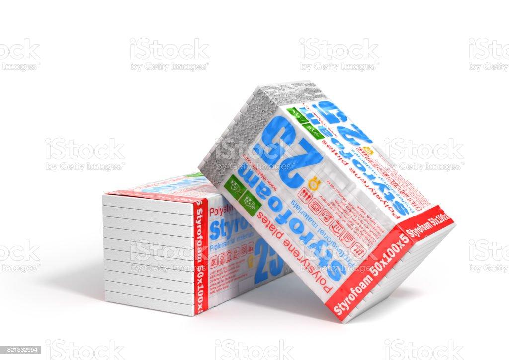 Stack of styrofoam for insulation stock photo
