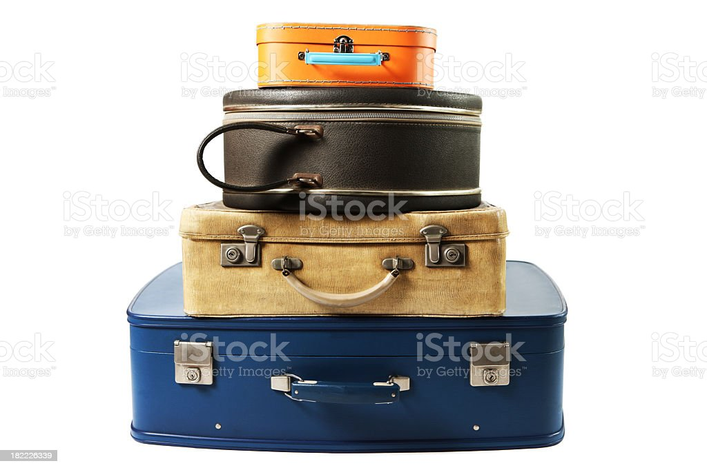 A stack of suitcases for travel royalty-free stock photo