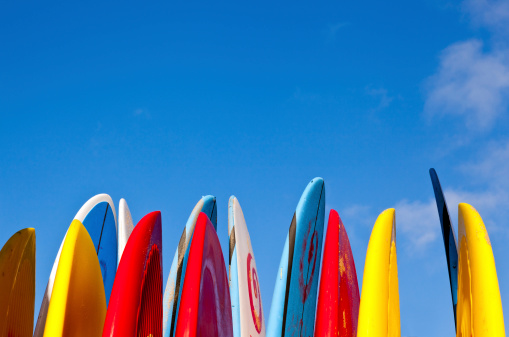 Stack Of Surfboards By Seaside Stock Photo - Download Image Now