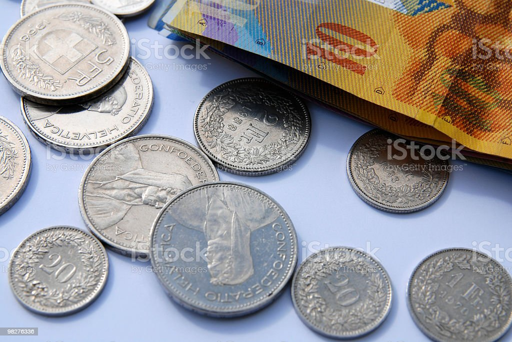 stack of Swiss franc notes and coins stock photo