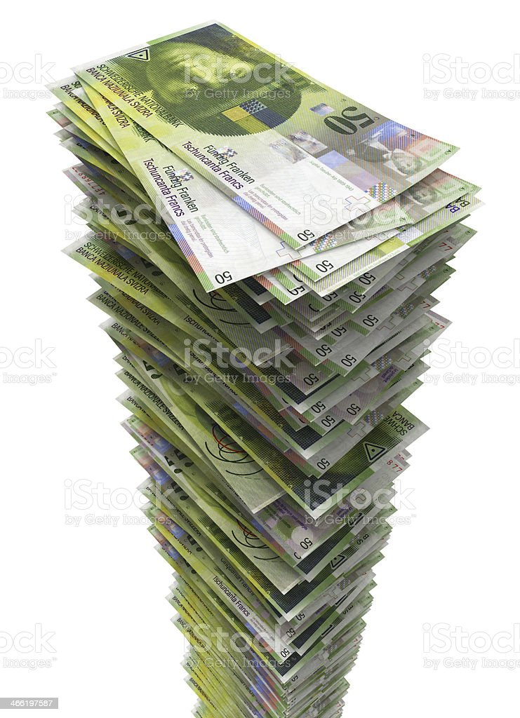 Stack of Swiss Francs. royalty-free stock photo