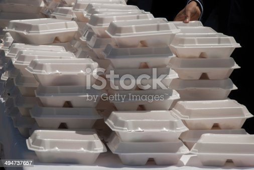 These convenient takeout meals were served at a public event with several hundred people.