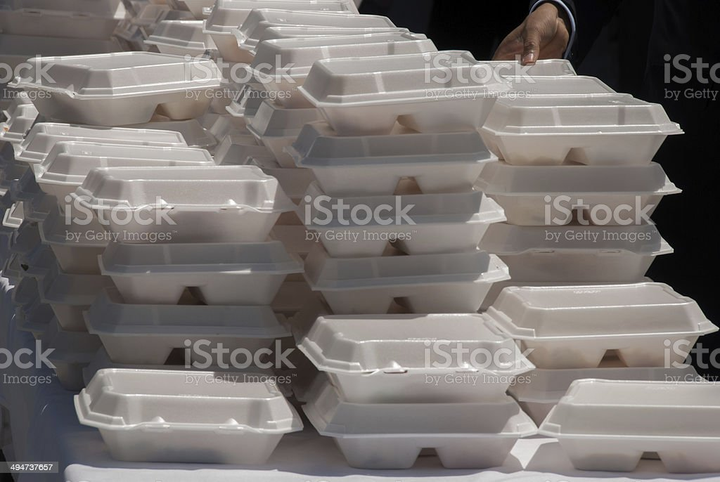 Stack of Takeout Meals at Public Event stock photo