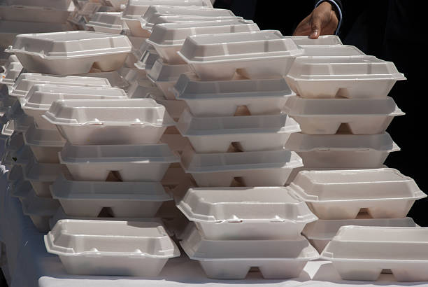 Stack of Takeout Meals at Public Event These convenient takeout meals were served at a public event with several hundred people. polystyrene stock pictures, royalty-free photos & images