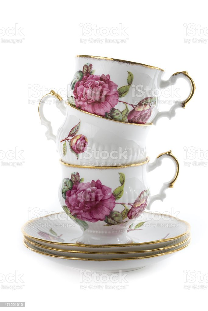 Stack of Teacups royalty-free stock photo