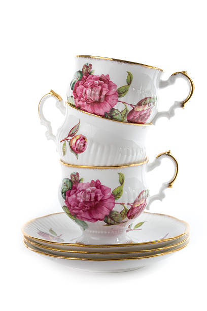 Stack of Teacups stock photo