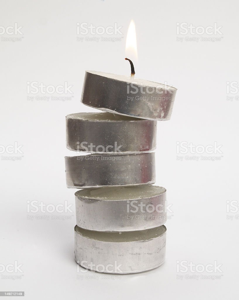 Stack of tealight candles. stock photo