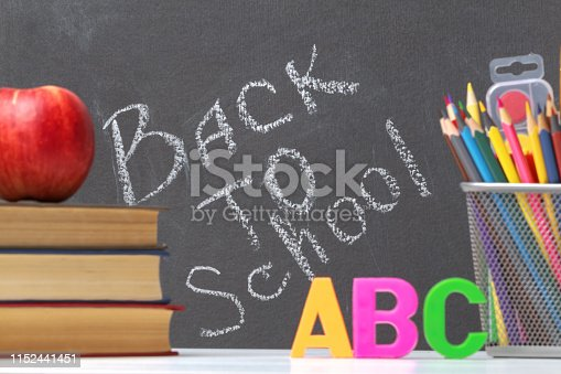istock A stack of textbooks, an apple, letters of the alphabet A, B, C, pencils, brushes, paints against a black chalkboard background. The concept of education. Inscription back to school. 1152441451