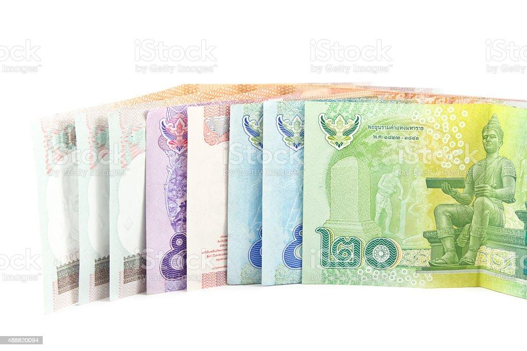 stack of Thai money on white background stock photo