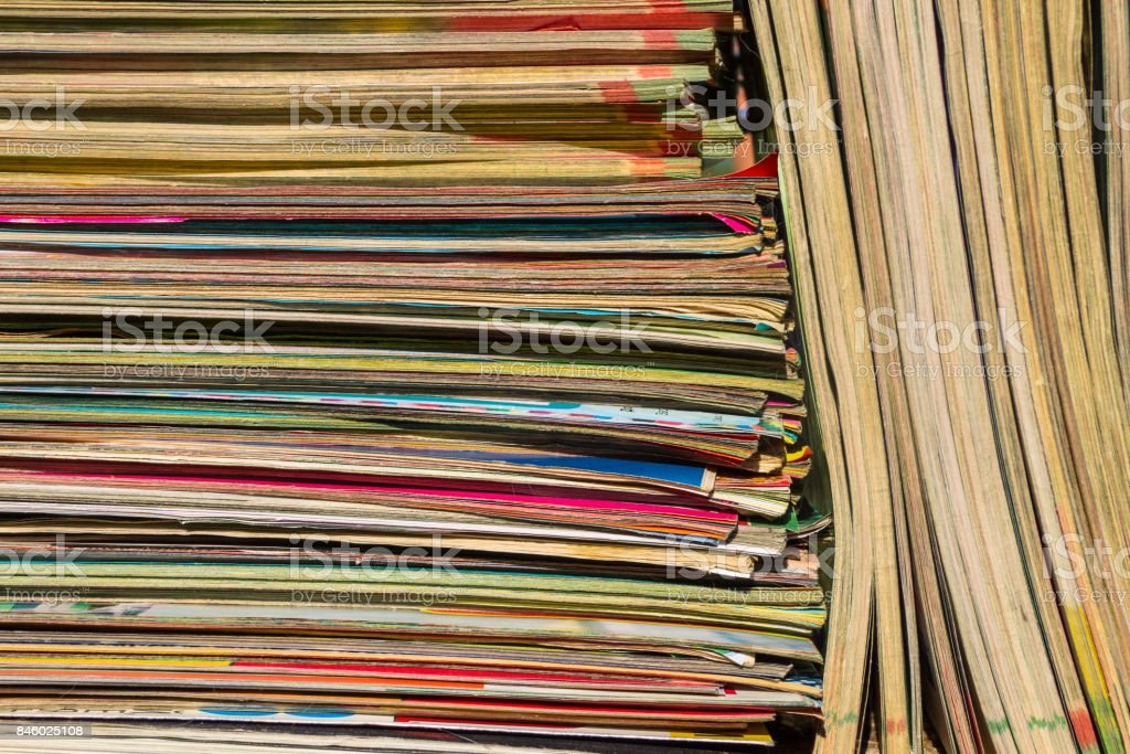Stack of the old journals for background stock photo