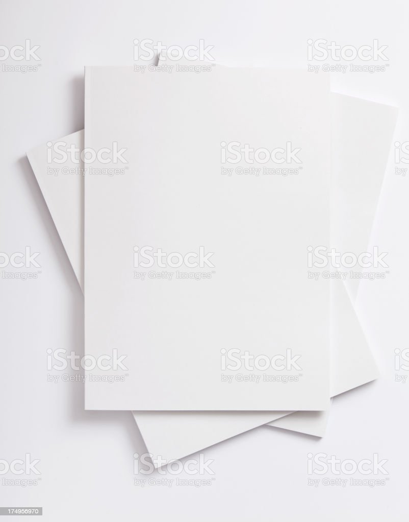 Stack of three blank vector papers on white background stock photo