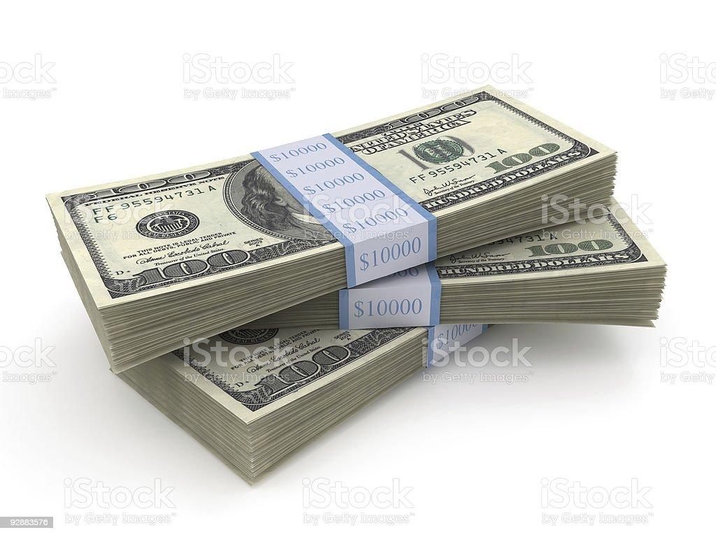 Stack of three bundles of $100 bills stock photo
