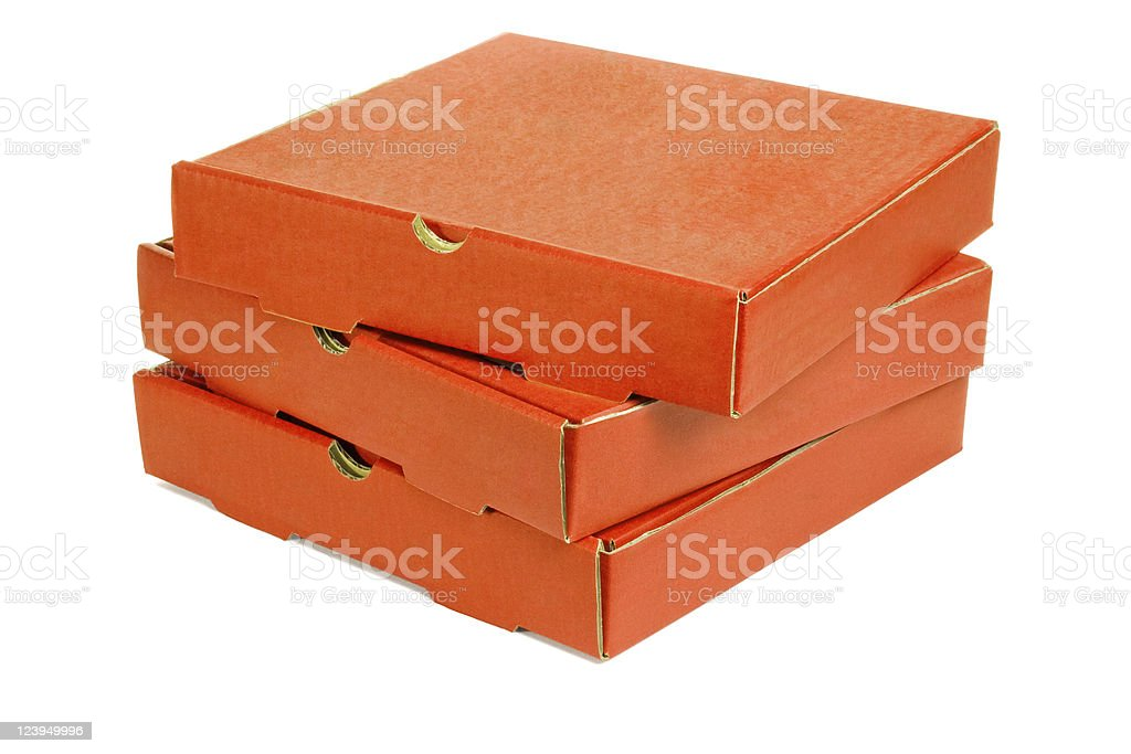 Stack of three pizza takeaway boxes royalty-free stock photo
