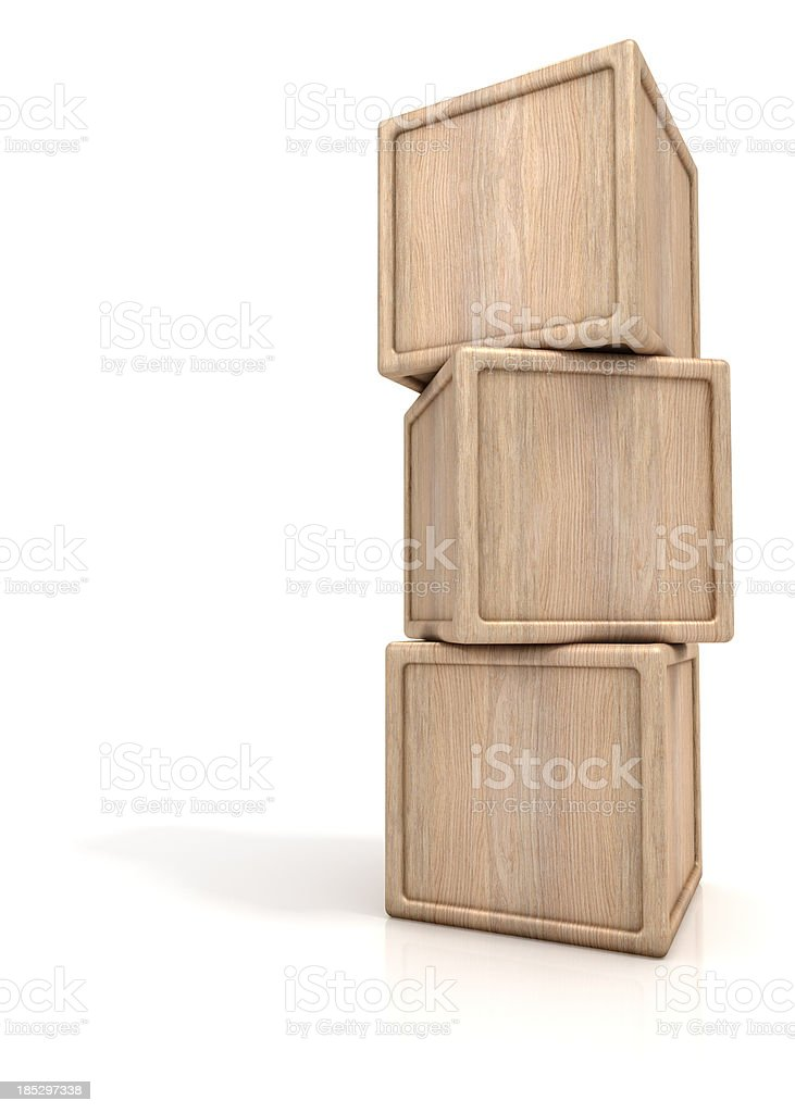 Stack of three wooden blocks stock photo