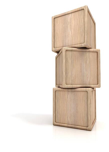 Stack of three wooden blocks stock photo