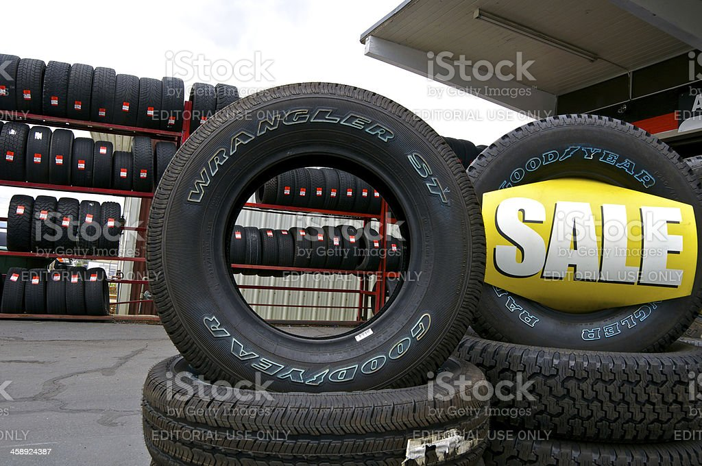 Stack of tires for sale, Provo, Utah, Western USA stock photo