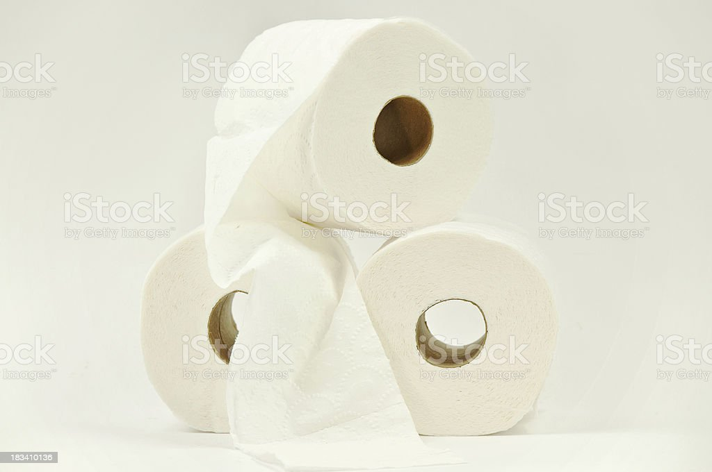 Stack of Toilet Paper On White stock photo