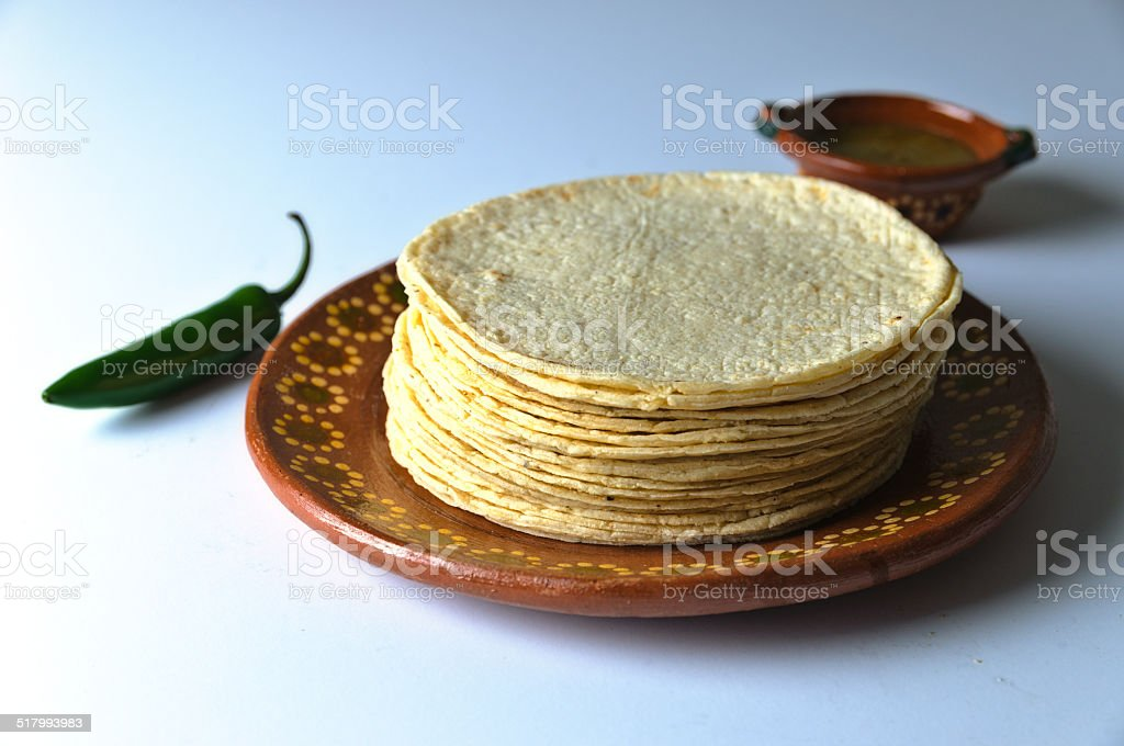 stack of tortillas stock photo