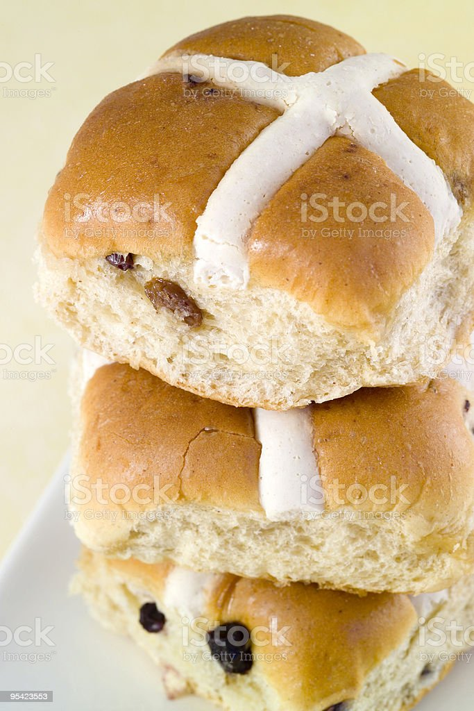Stack of Traditional Easter Hot Cross Buns