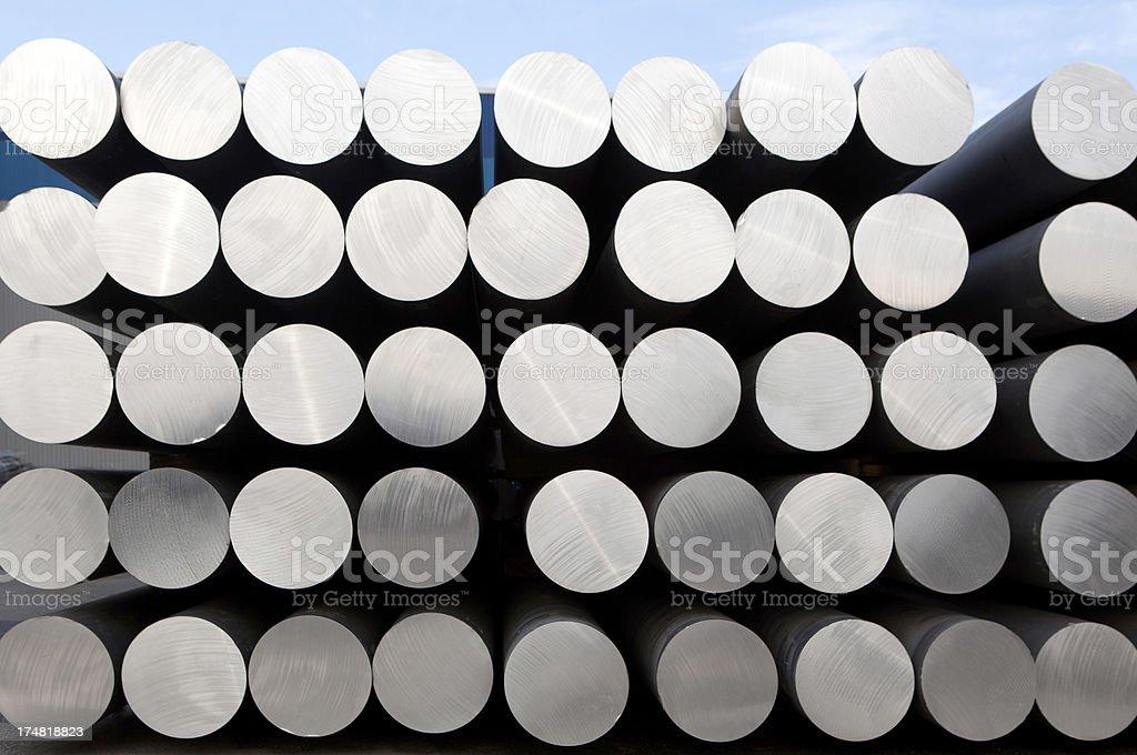 Stack of tubular aluminum bars stock photo
