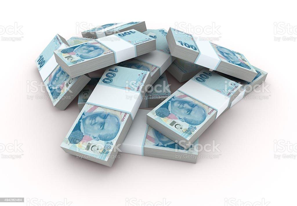 Stack of Turkish Lira bills stock photo