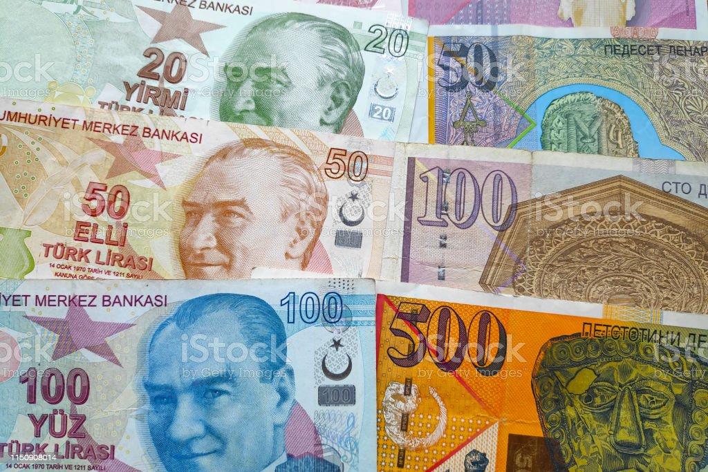 Stack of Turkish Lira & Macedonian Denar stock photo