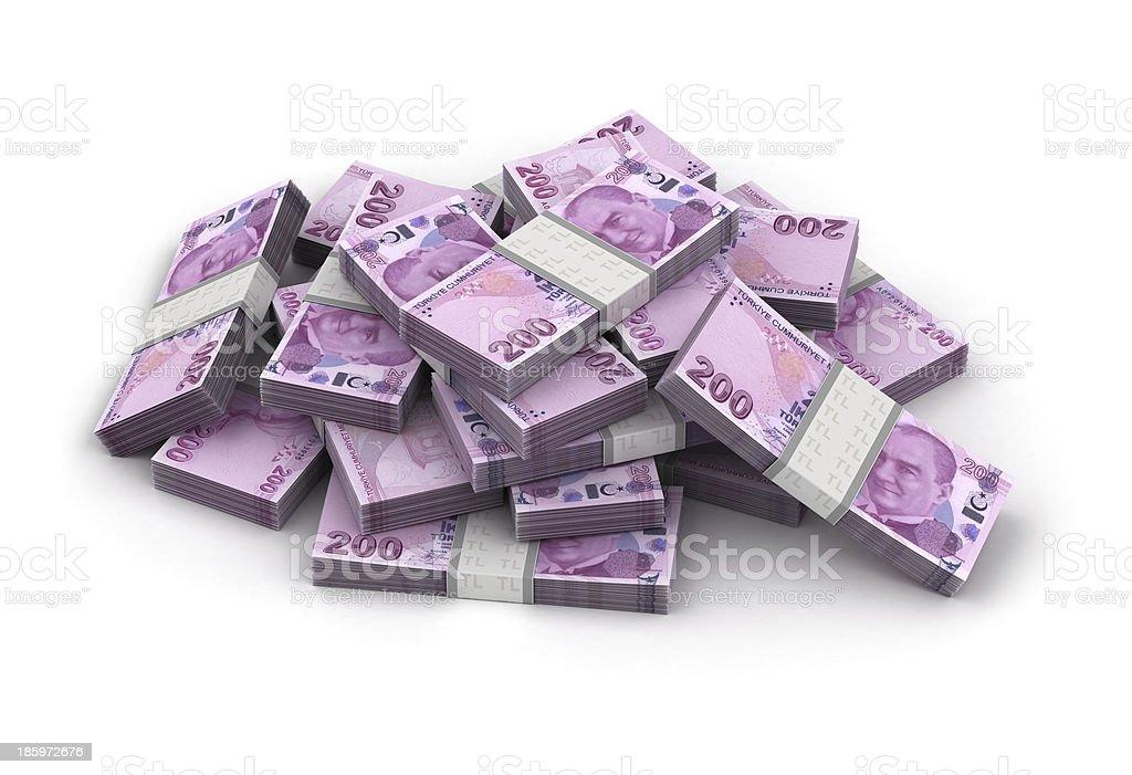 Stack of Turkish Lira stock photo