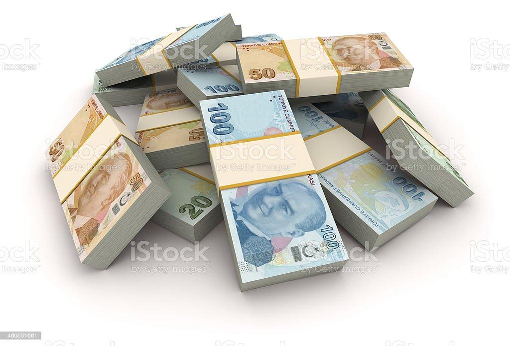 Stack of Turkish Liras stock photo