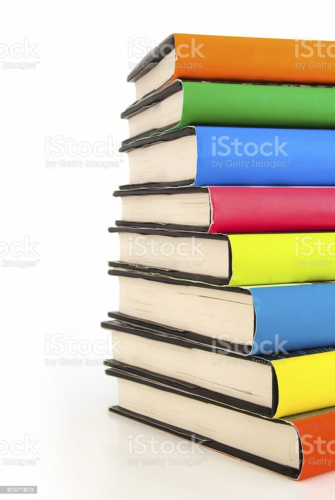 Stack of used colorful books royalty-free stock photo
