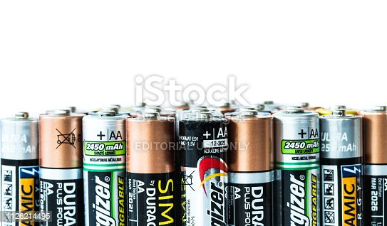 istock Stack of used disposable batteries with copy space 1126214495