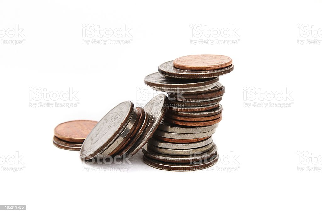 Stack of various coins closeup stock photo