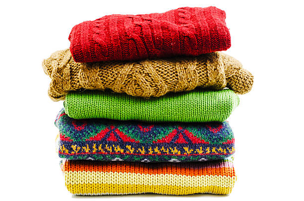 stack of various sweaters. winter style - 過頭穿毛線衫 個照片及圖片檔