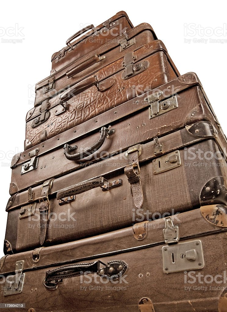 Stack of Vintage Suitcases royalty-free stock photo
