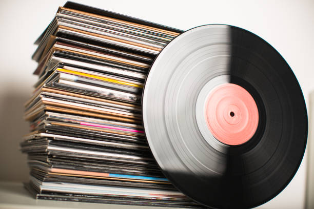 Stack of vinyl Vinyl records closeup album stock pictures, royalty-free photos & images