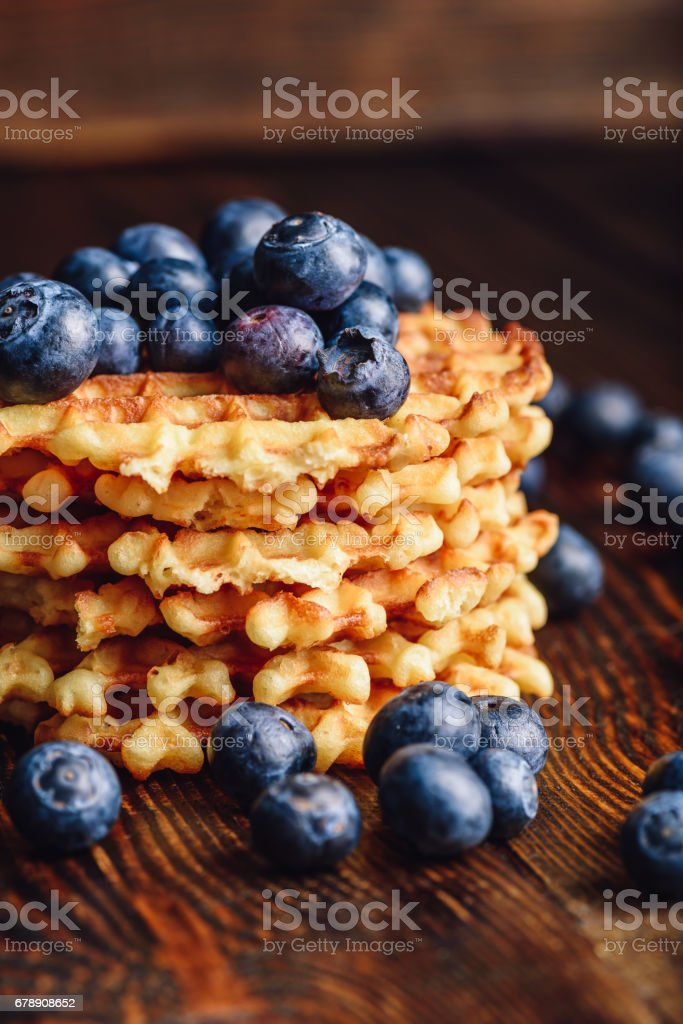 Stack of Waffles with Blueberry. stock photo