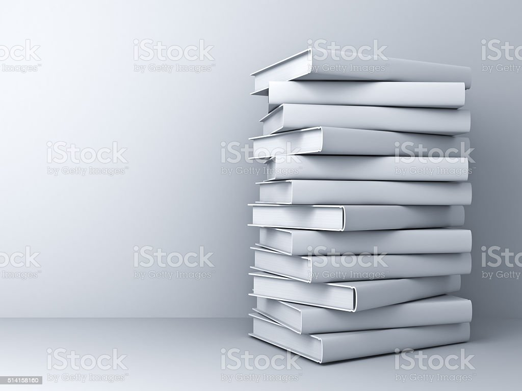 Stack of white books stock photo