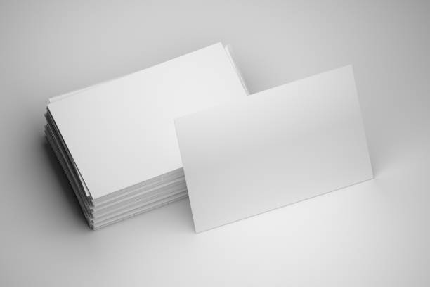 Stack of white business card with blank copy space stock photo
