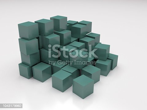 istock Stack of white cubes 3d concept 1043179962