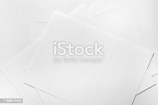 istock Stack of white paper topview 1168875432