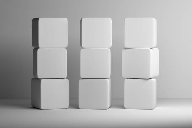 Stack of white rounded cubes on white background stock photo