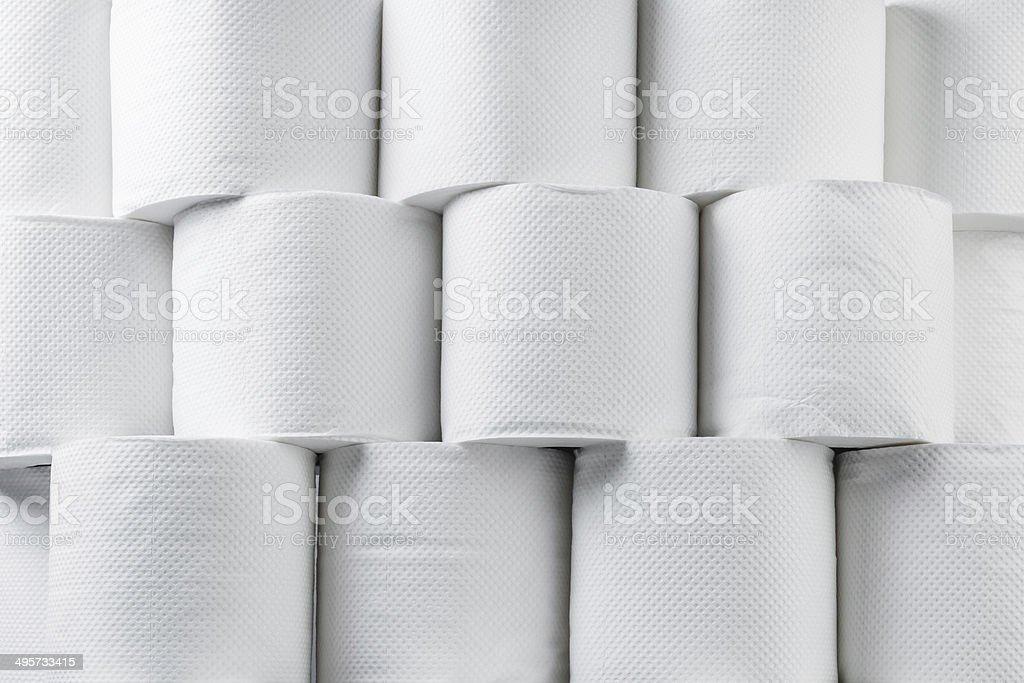 Stack of white tissue paper rolls. stock photo
