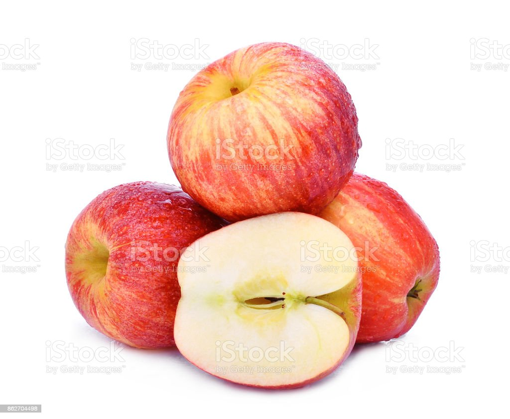 stack of whole and half of fresh gala apple with drop of water  isloated on white background stock photo