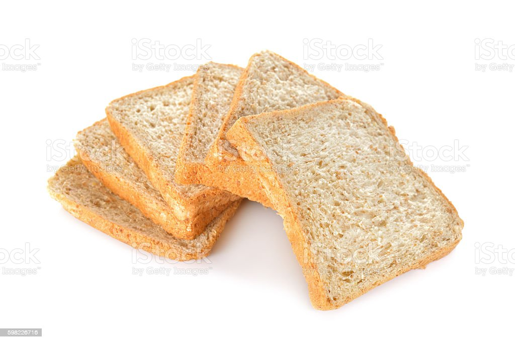stack of whole wheat bread on white background foto royalty-free
