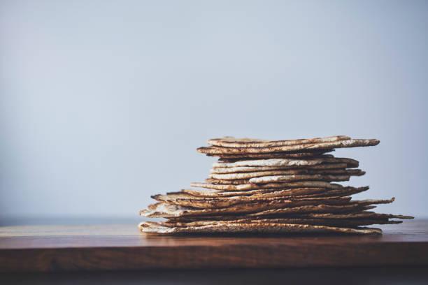 Stack of Whole Wheat Flatbread stock photo