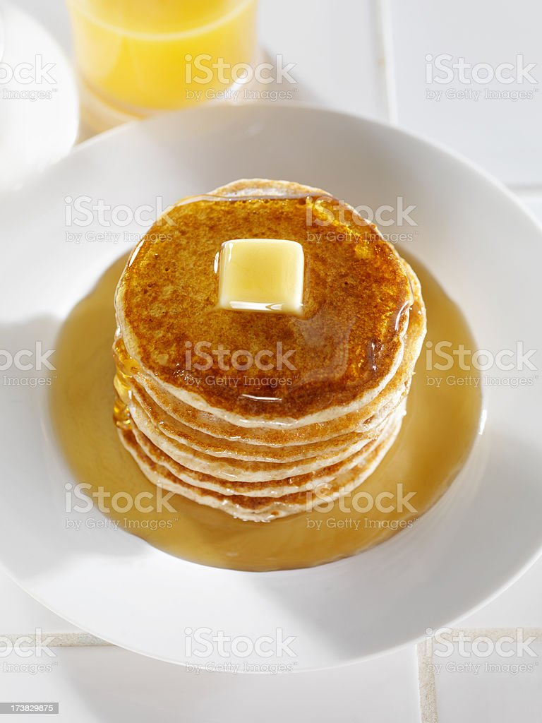 Stack of Whole Wheat Pancakes royalty-free stock photo
