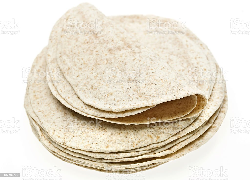 Stack of whole wheat tortillas stock photo