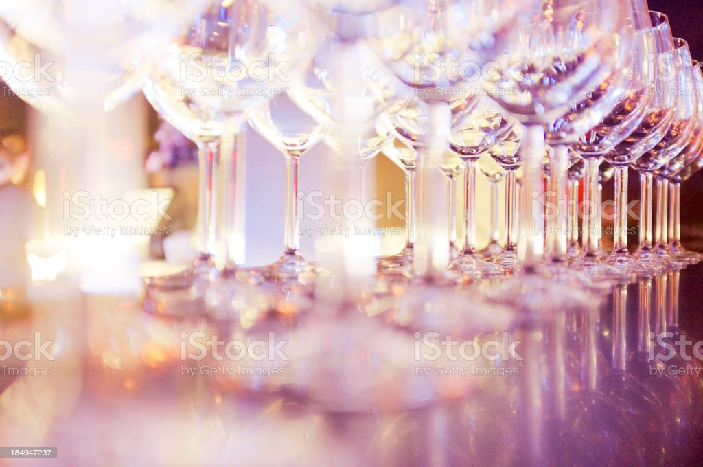 Stack of wineglasses on the counter top stock photo