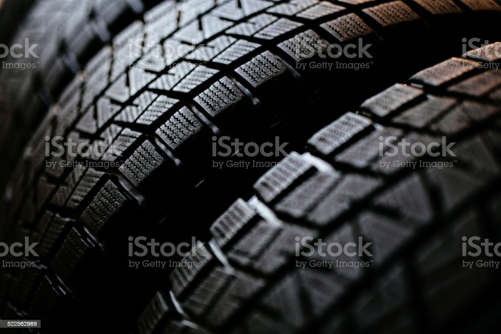 Stack of winter tires stock photo